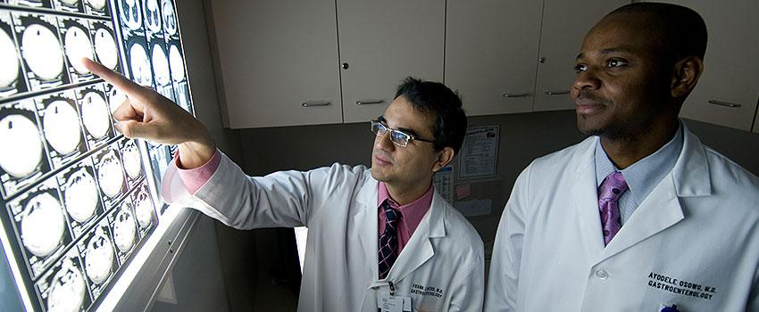 Providers examining X-rays