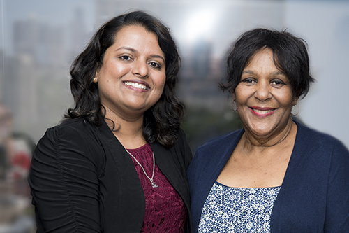 (From left to right) Nurse Ribi Kurian with Elease Jenkins. (Photo credit: Lorenz Meyer, McGovern Medical School)