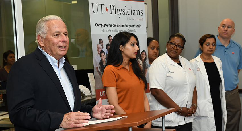 Rep. Gene Green at the 23rd Annual Immunizations event at UT Physicians - Jensen.
