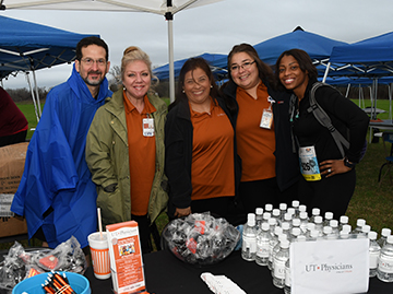 The UT Physicians tent along the race route in February 2018. Photo credit: Dwight Andrew, McGovern Medical School