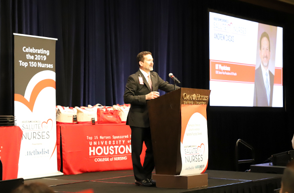 Andrew Casas, chief operating officer of UT Physicians and senior vice president of UTHealth, spoke at the 2019 Salute to Nurses luncheon. Photo by: Amanda Patterson, UT Physicians