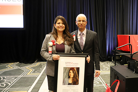 Cristina Sola, NP, with Kristofer M. Charlton-Ouwm, MD at the 2019 Salute to Nurses luncheon. Photo by: Amanda Patterson, UT Physicians