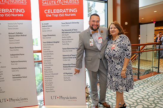 Omar Sandoval, MD, with his mother Elva Medina, at the 2019 Salute to Nurses luncheon. Photo by: Melissa McDonald, UT Physicians