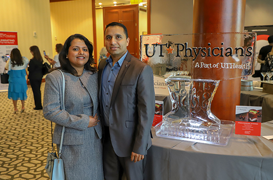 Ribi Kurian with her husband, Aji Kurian, at the 2019 Salute to Nurses luncheon. Photo by: Melissa McDonald, UT Physicians