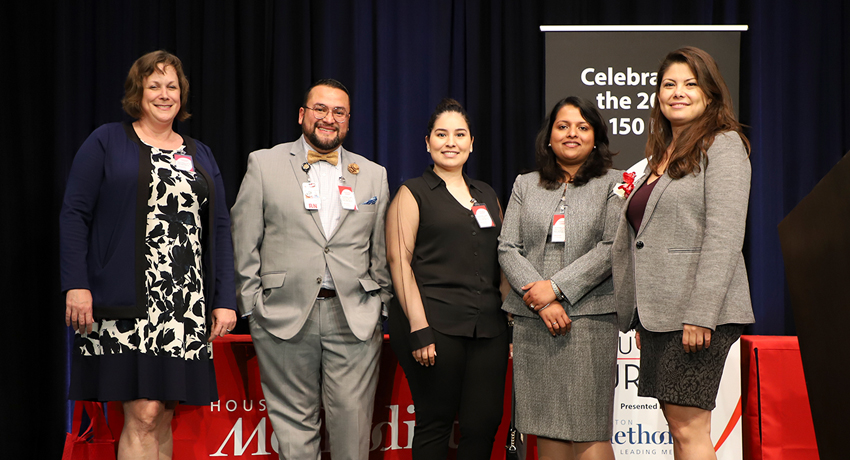 From left to right: Lisa Thomas, DNP, Omar Sandoval, RN, Thelma Rios, LVN, Ribi Kurian, RN and Cristina Sola, NP. Photo by: Amanda Patterson, UT Physicians