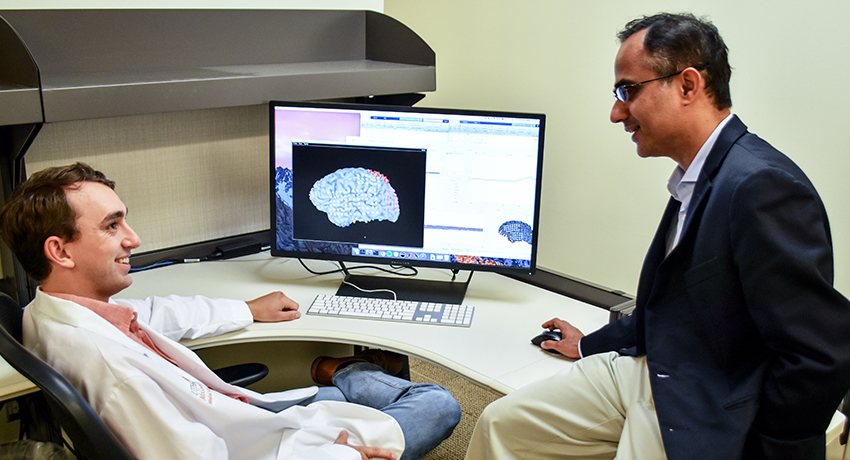 UTHealth's Kiefer Forseth, left, and Nitin Tandon, M.D., are researching the causes of naming issues. PHOTO CREDIT: Rob Cahill, UTHealth