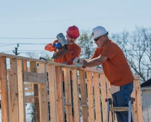 Volunteers on build site