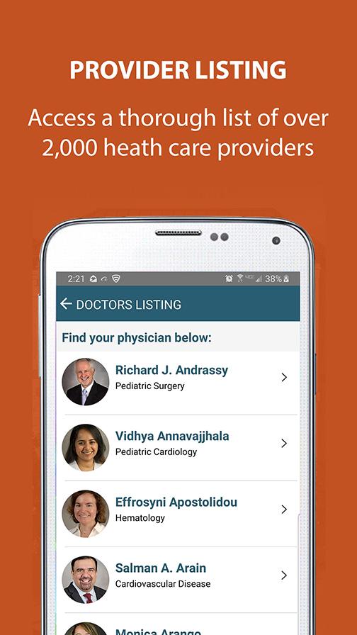 UT Physicians Mobile App Screen