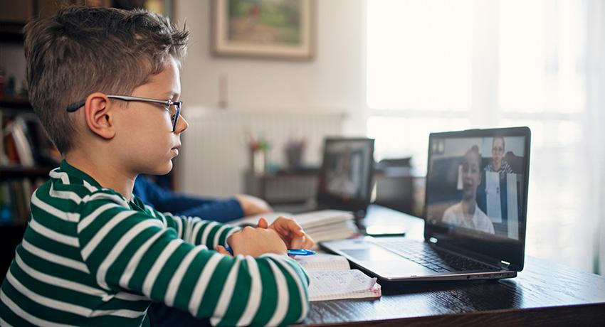 Child attending online class