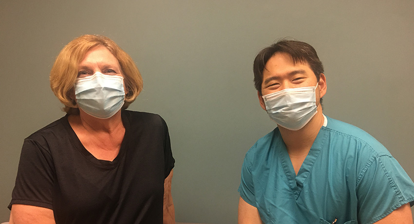 Dr. Eddie H. Huang and knee replacement surgery patient, Marcia Gould
