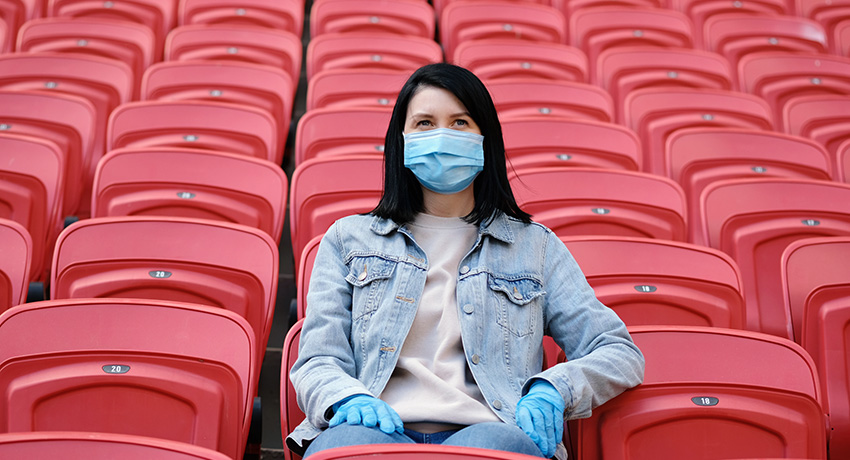 sports fan in mask