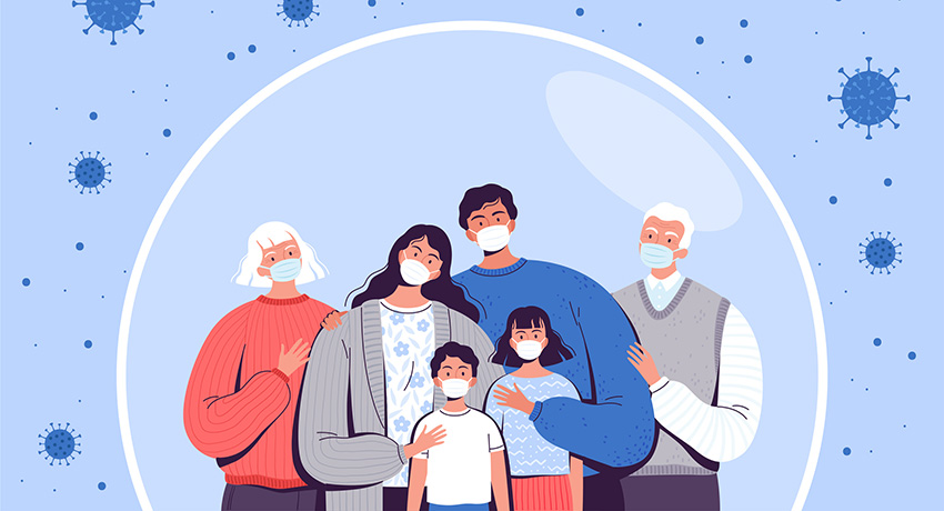graphic of family in medical masks