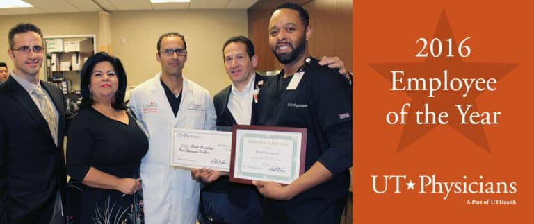 From left to right: Joe Masterson, Practice Manager; Rose Garcia, Practice Manager; Peter Sabonghy, M.D., Medical Director; Andrew Casas, COO & VP, UT Physicians; Brett Brinkley, UT Physicians Employee of the Year