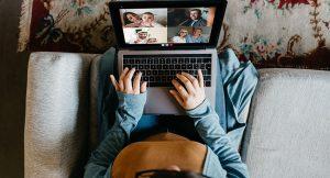 Socializing on laptop
