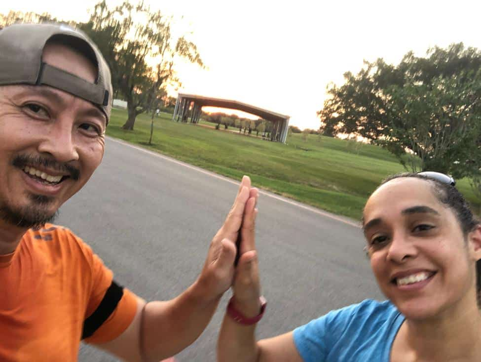 Photo of Quan Collins and his wife, Ganesa, before one of their routine workouts. (Photo courtesy of Quan Collins)